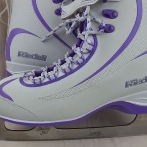 Riedell Ice Skates 625 White/Violet Ladies Shoes w
